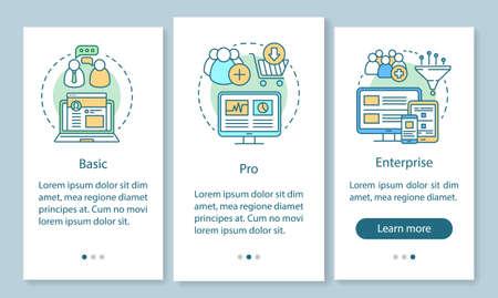 Abonnement für digitale Marketingtools beim Onboarding der mobilen App-Seitenseite mit linearen Konzepten. Grundtarife. Drei exemplarische Schritte mit grafischen Anweisungen. UX, UI, GUI-Vektorvorlage mit Illustrationen