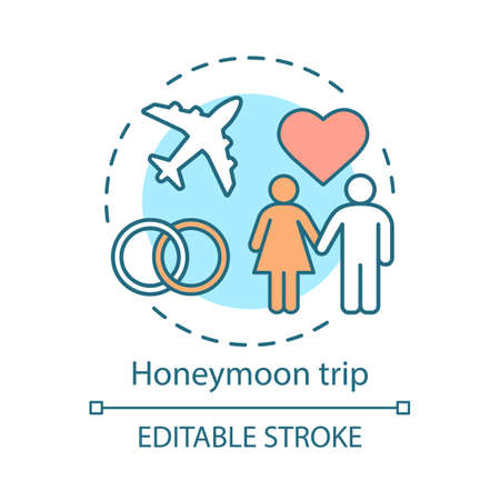 Honeymoon trip concept icon. Travel style idea thin line illustration. Romantic voyage. City tours. Family tourism. Newlyweds holiday. Vector isolated outline drawing. Editable stroke Иллюстрация