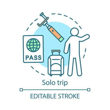 Solo trip concept icon  Travel style idea thin line illustration