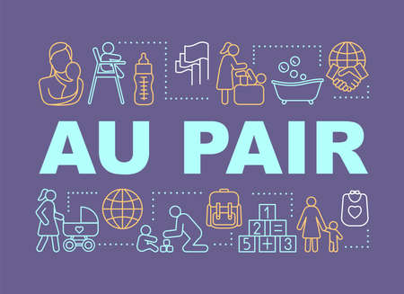 Babysitting Au Pair concepts banner. Presentation, website. Isolated lettering typography idea with linear icons. International nannies, babysitting programs. Vector outline illustration