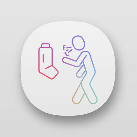 Allergic asthma, anaphylaxis app icon. Asthmatic using inhaler. UIUX user interface. Bronchospasm, wheezing. Cough treatment. Web or mobile application. Vector isolated illustration Illustration