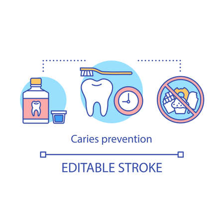 Caries prevention concept icon. Dental health care. Rinsing, brushing teeth, no sweets in diet. Oral hygiene routine idea thin line illustration. Vector isolated outline drawing. Editable stroke