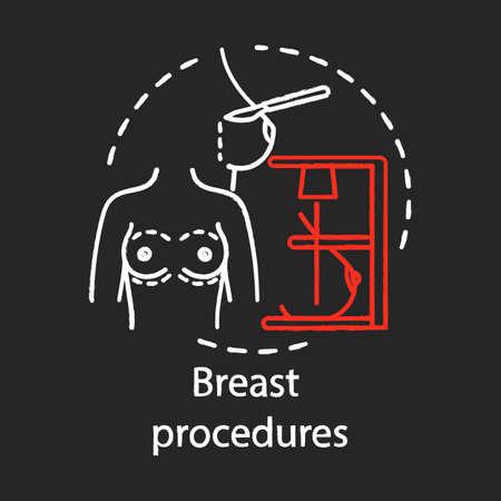 Icona del gesso di procedure al seno. Procedura di mastoplastica. Lavoro di tette. Aumento, riduzione e ricostruzione del seno. Sottospecialità di chirurgia plastica. Illustrazione isolata della lavagna di vettore