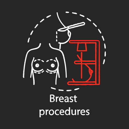 Icono de tiza de procedimientos de mama. Procedimiento de mamoplastia. Trabajo de tetas. Aumento, reducción y reconstrucción mamaria. Subespecialidad de cirugía plástica. Ilustración de pizarra de vector aislado