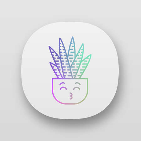 Zebra cactus app icon. Cactus with kissing face. Happy Haworthia. Home cacti in pot. Succulent plant, smiling eyes. UIUX user interface. Web or mobile applications. Vector isolated illustrations Illustration