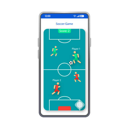 Soccer game app smartphone interface vector template. Mobile app page white design layout. Football game tournament screen. Flat UI for soccer application. Sport field phone display Archivio Fotografico - 129558218