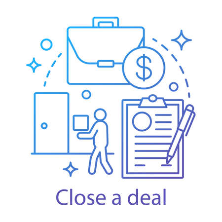 Close a deal concept icon. Transaction making idea thin line illustration. Customer relationship management. CRM system software. E commerce. Vector isolated outline drawing