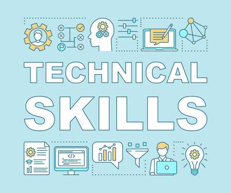 Technical skills word concepts banner. Power of knowledge, learning process, self education presentation. Programming. Isolated typography idea with linear icons. Vector outline illustration Illustration
