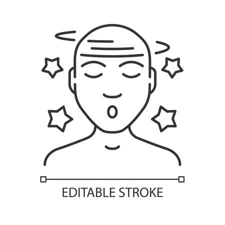 Dizziness linear icon. Fatigue, vertigo illness thin line illustration. Headache, concussion, migraine. Contour symbol. Vector isolated outline drawing. Anxiety, depression. Editable stroke