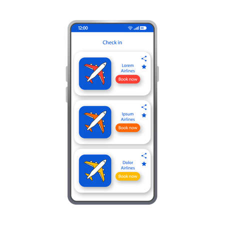 Check in app smartphone interface vector template. Mobile app page white design layout. Booking flight tickets screen. Flat UI for airline service application. Destination ticket phone display Иллюстрация