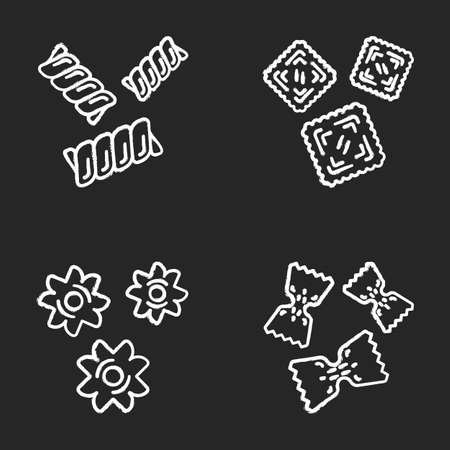Pasta noodles types chalk icons set. Macaroni different shapes. Gemelli, ravioli, stele, farfalle. Mediterranean cuisine. Dough products. Italian food. Isolated vector chalkboard illustrations