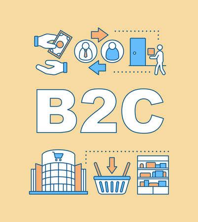 Banner für B2C-Wortkonzepte. E-Commerce mit Verkauf für Verbraucher. Verkaufsstrategie. Unternehmensführung. Präsentation, Webseite. Isolierte Schrifttypografie-Idee, lineare Symbole. Vektorumrissillustration