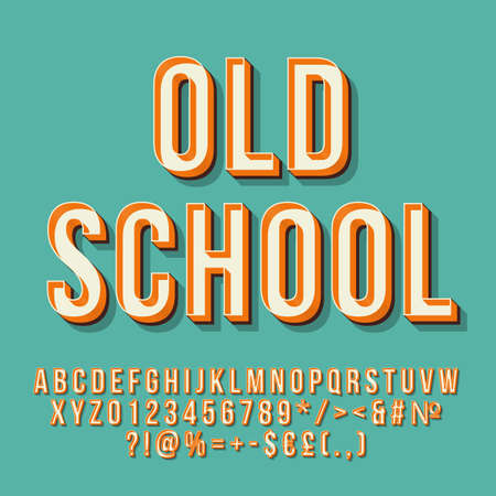 Old school 3d vector lettering. Retro bold typeface. Pop art stylized text. Vintage style letters, numbers, symbols pack. 90s, 80s poster, banner, t shirt typography design. Baby blue color background