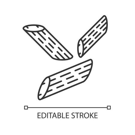 Penne linear icon. Italian pasta. Pennoni, mostaccioli. Cut diagonally macaroni. Mediterranean noodles. Thin line illustration. Contour symbol. Vector isolated outline drawing. Editable stroke