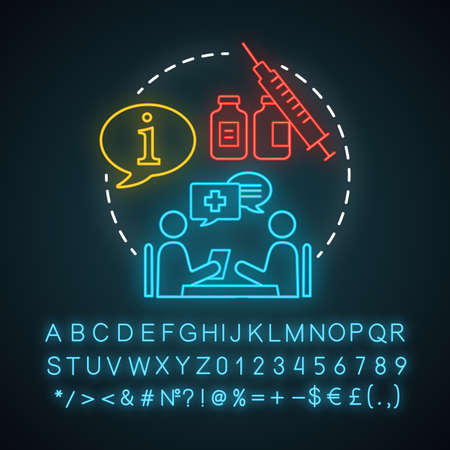 Get consultation neon light icon. Health check. Clinic center. Doctor appointment. Disease prevention. Glowing sign with alphabet, numbers and symbols. Vector isolated illustration