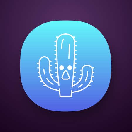 Elephant cactus app icon. UIUX user interface. Pachycereus with astonished face. Wild cacti. Mexican giant cardon. Amazed plant. Web or mobile application. Vector isolated illustration