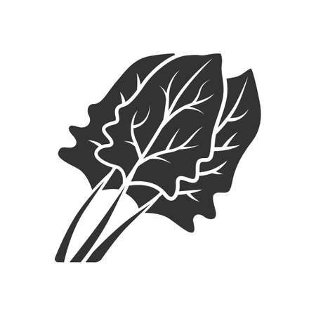 Spinach glyph icon. Salad ingredient. Agriculture plant. Leaves. Vegetable farm. Organic food. Vegan and vegetarian food. Diet. Vitamin. Silhouette symbol. Negative space. Vector isolated illustration