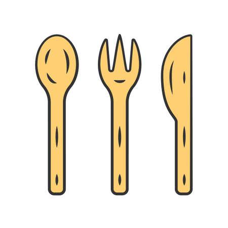 Reusable bamboo cutlery set color icon. Zero waste recyclable kitchen tableware. Eco-friendly disposable fork, knife, spoon. Isolated vector illustration Vektoros illusztráció