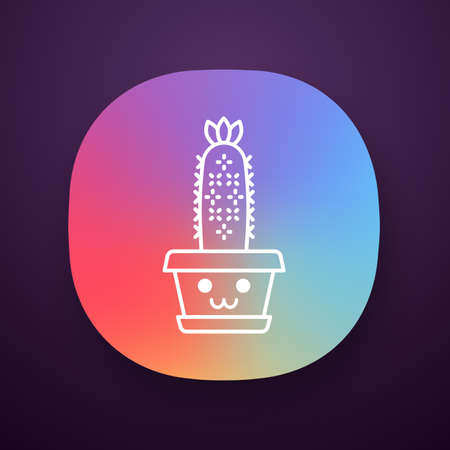 Hedgehog app icon. Cactus with smiling face. Echinopsis with flower. Home embarrassed cacti. Happy plant in pot. UI/UX user interface. Web or mobile application. Vector isolated illustration