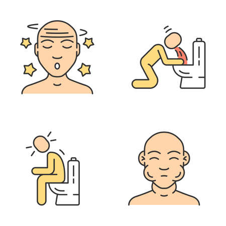 Food poisoning, allergy symptoms color icons set. Fatigue, malaise, vertigo. Vomiting, diarrhea, constipation. Swelling, dizziness allergic reaction. Mumps, flu fever. Isolated vector illustrations
