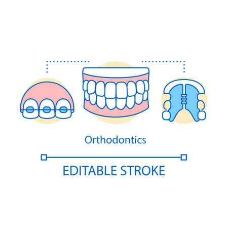 Orthodontics concept icon. Bite correction. Smile recovery. Retainers, braces, jaws. Modern cosmetic dentistry idea thin line illustration. Vector isolated outline drawing. Editable stroke