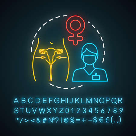 Vaginal rejuvenation neon light icon. Female plastic surgery. Vaginal corrective treatments. Glowing sign with alphabet, numbers and symbols. Vector isolated illustration