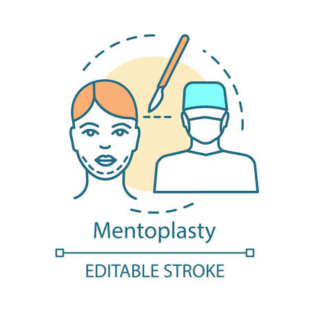 Mentoplasty concept icon. Chin reshape idea thin line illustration. Plastic facial cosmetic operation. Surgical procedure. Vector isolated outline drawing. Editable stroke