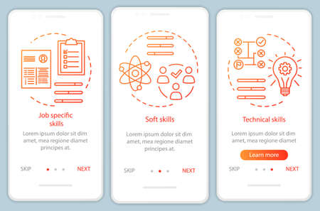 Skills orange gradient onboarding mobile app page screen vector template. Hard skills, professional qualities walkthrough website steps with linear illustrations. UX, UI, GUI smartphone interface