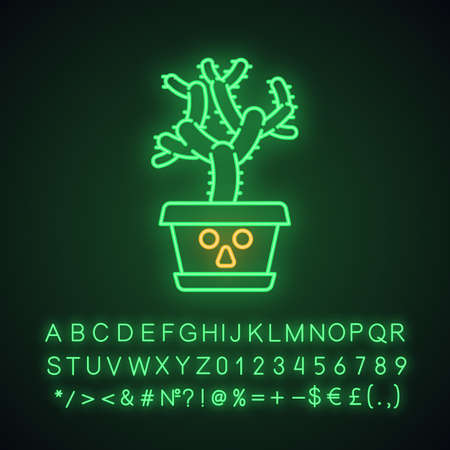 Teddy bear cholla cute kawaii neon light character. Cactus with astonished face. Unhappy plant in pot. Funny emoji, emoticon. Glowing icon with alphabet, numbers, symbols. Vector isolated illustration