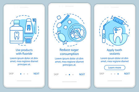 Caries prevention onboarding mobile app page screen with linear concepts. Dentistry. Dental health care walkthrough steps graphic instructions. UX, UI, GUI vector template with illustrations