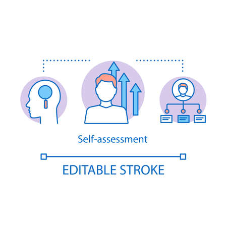 Self-assessment concept icon. Test idea thin line illustration. People examining vector isolated outline drawing. Employee ability, qualifications. Skill improvement. Self respect, IQ editable stroke