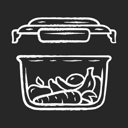 Food storage container chalk icon. Zero waste. Eco friendly, recycle material. Plastic food packaging. Reusable lunch box. Fresh fruits and vegetables storage. Isolated vector chalkboard illustration  イラスト・ベクター素材