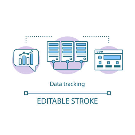 Data tracking concept icon. Accounting system, diagram. Data organization customer relationship management idea thin line illustration. Vector isolated outline drawing. Editable stroke