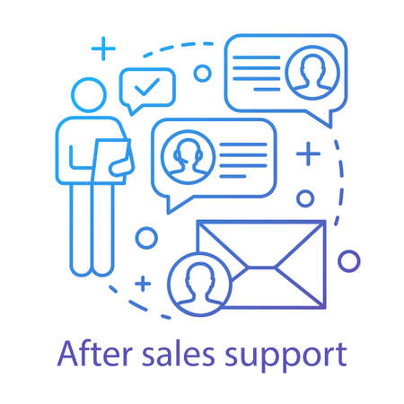 After sales support concept icon. Help desk service idea thin line illustration. Customer relationship management. Product guarantee. CRM system. Vector isolated outline drawing Illustration