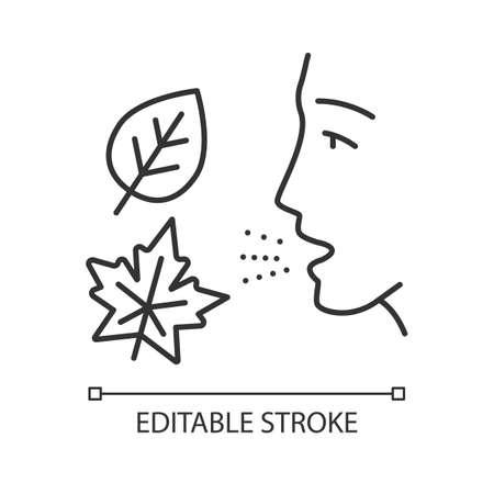Fall allergy linear icon. Seasonal allergy. Hypersensitivity of immune system. Respiratory disease in autumn. Thin line illustration. Contour symbol. Vector isolated outline drawing. Editable stroke Ilustração