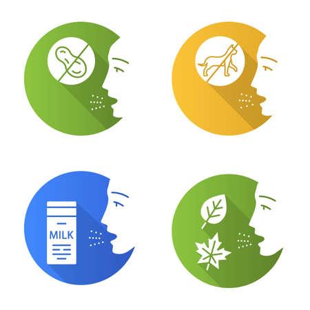Allergies flat design long shadow glyph icons set. Peanut, milk, dust, animals intolerance. Causes and symptoms of allergic diseases. Hypersensitivity of immune system. Vector silhouette illustration Ilustração