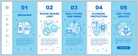Oral hygiene routine onboarding mobile web pages vector template. Teeth care. Responsive smartphone website interface idea with linear illustrations. Webpage walkthrough step screens. Color concept Ilustrace