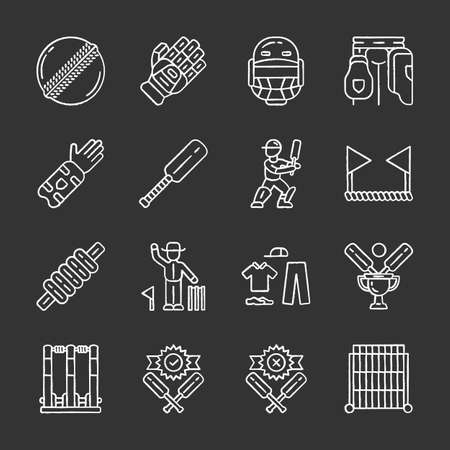 Cricket championship chalk icons set. Sport uniform, protective gear, game equipment. Outdoor athletic activity. Bat and ball team game. Match preparation. Isolated vector chalkboard illustrations