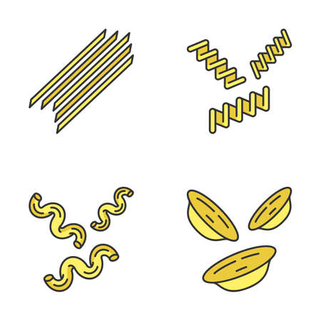 Pasta noodles color icons set. Spaghetti, fusilli, cavatappi, orecchiette. Italian dried dough food. Traditional Mediterranean macaroni. Culinary semi-finished products. Isolated vector illustrations