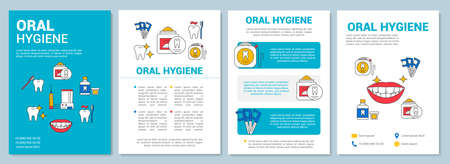 Oral hygiene brochure template layout. Daily dental health care. Flyer, booklet, leaflet print design with linear illustrations. Vector page layouts for magazines, annual reports, advertising posters Ilustração