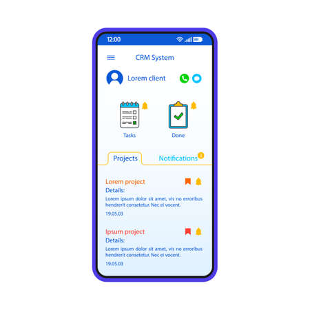 CRM system smartphone interface vector template. Mobile app page white design layout. Project, tasks screen. Flat UI for small business organization application. Interactive management phone display