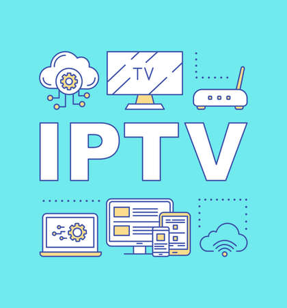 IPTV turquoise word concepts banner. Presentation, website. TV box, Internet protocol TV, multimedia tracking. Isolated lettering typography idea with linear icons. Vector outline illustration