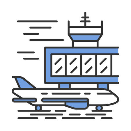 Airport outside color icon. Plane runway. Airplane landing strip. Aerodrome building. Jet airfield. Aviation service. Aircraft travel. Journey amenity. Air terminal. Isolated vector illustration