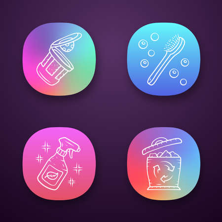 Zero waste swaps handmade app icons set. Eco friendly products. Eco cleaning products, reusable k-cup, bath brush. UI/UX user interface. Web or mobile applications. Vector isolated illustrations