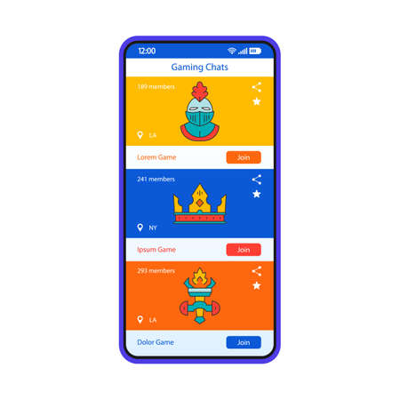 Gaming chats smartphone interface vector template. Mobile app page blue design layout. Public text chats for gamers screen. Flat UI for application. Teammate communication, dialogues. Phone display Illustration
