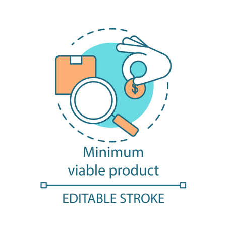 Minimum viable product concept icon. MVP. Giving donation. Charity. Receiving grant. Investment search idea thin line illustration. Vector isolated outline drawing. Editable stroke