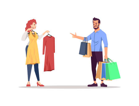 People choosing clothes flat vector illustration. Family couple isolated cartoon characters on white background. Fashion wardrobe shopping together. Presents, bags, purchases. Party, celebration