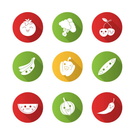 Vegetables and fruits cute kawaii flat design long shadow glyph characters set. Tomato, broccoli, banana, cherry with smiling faces. Funny emoji, emoticon. Vector isolated silhouette illustration
