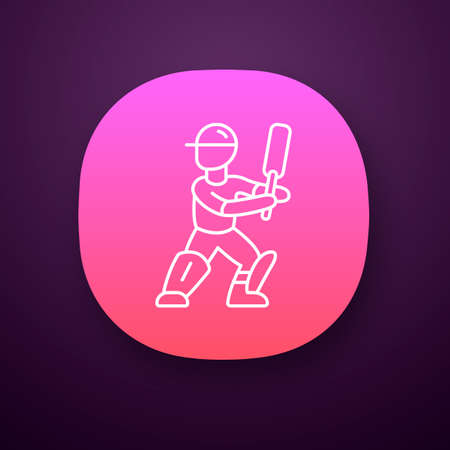 Cricket player app icon. Batsman ready to fight off pitch. Cricketer in uniform, leg pads with bat. Athlete on playground. UI/UX user interface. Web or mobile application. Vector isolated illustration