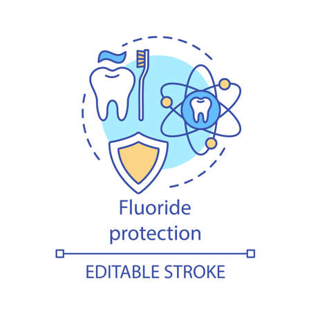 Fluoride protection concept icon. Defense against caries. Firming toothpaste. Strong tooth enamel practice idea thin line illustration. Vector isolated outline drawing. Editable stroke